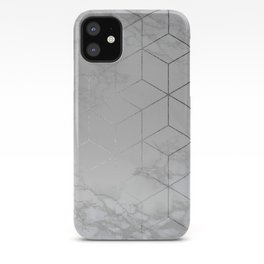 Silver Platinum Geometric White Mable Cubes iPhone Case