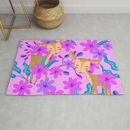 Cute wild sweet little baby deer fawns lost in the forest of delicate pink flowers illustration. Rug