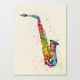 Saxophone Abstract Watercolor Canvas Print