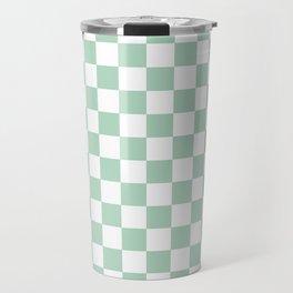 Gingham Nebula Pastels Green Mint Checked Pattern Travel Mug