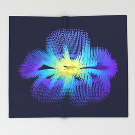 Brilliant Blue Hibiscus Abstract Flower Throw Blanket