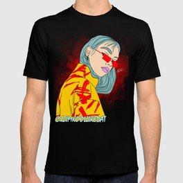 CUZ IM KOOL LIKE DAT - Cool Asian Female with Blue Hair Digital Drawing T-shirt