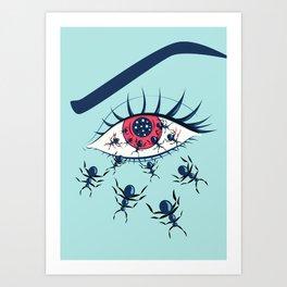 Creepy Red Eye With Ants Art Print