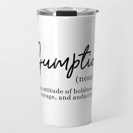 Gumption Definition - Word Nerd - Black Minimalist Travel Mug