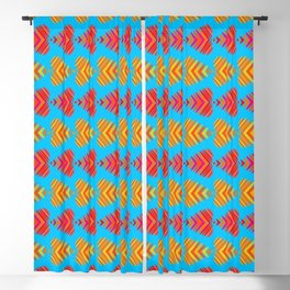 Pattern of orange hearts and red stripes on a blue background. Blackout Curtain