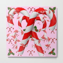 RED-WHITE PINK  CHRISTMAS CANDY CANES HOLLY BERRIES  ART Metal Print