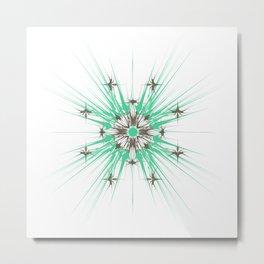Kat Scratch Starburst Pattern • Mint & Taupe Metal Print