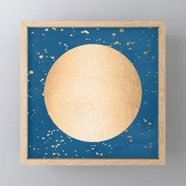 Paint Spatter Sun - Orange Sherbet Shimmer on Saltwater Taffy Teal Framed Mini Art Print