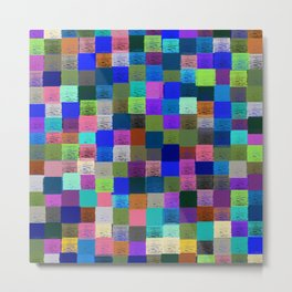 Neon Pixelated Patchwork Metal Print