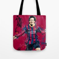 messi Tote Bags featuring Lionel Messi by Simeon Elson