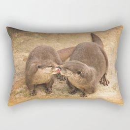 Kissing Otters Rectangular Pillow