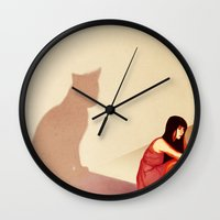 introvert Wall Clocks featuring Introvert by Melissa Lee Shaw