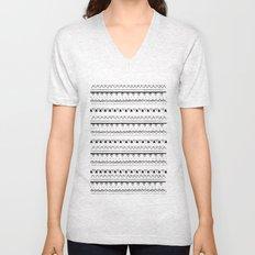White&Black pattern Unisex V-Neck