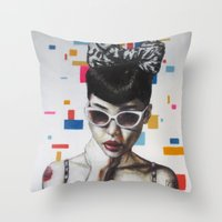 rockabilly Throw Pillows featuring Rockabilly by Sath