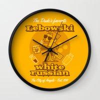 big lebowski Wall Clocks featuring The Big Lebowski by Giovanni Costa