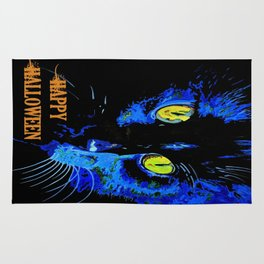 Black Cat Portrait with Happy Halloween Greeting  Rug