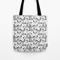 pugs Tote Bags featuring Oh Pugs by Huebucket