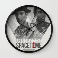 doctor Wall Clocks featuring Inspector Spacetime  by Sam Spratt