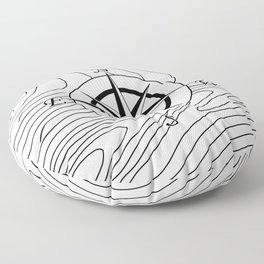 Topographic Line Pattern with Compass #797 Floor Pillow