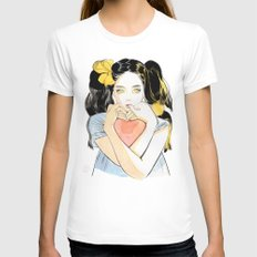 Yellow Ribbon White Womens Fitted Tee MEDIUM