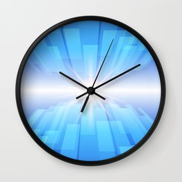Abstract blue technology background with glow star. Wall Clock