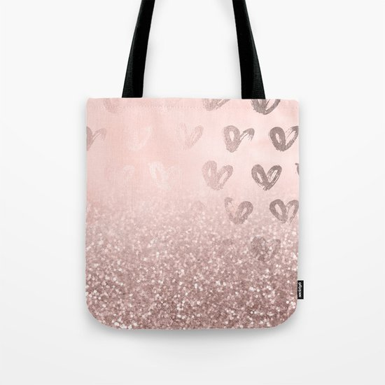 Rose Gold Sparkles on Pretty Blush Pink with Hearts by naturemagick