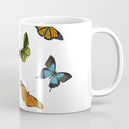 Butterflies and flowers arrangement isolated on white Coffee Mug
