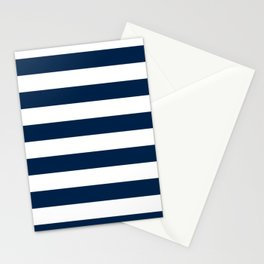 Horizontal Stripes - White and Oxford Blue Stationery Cards