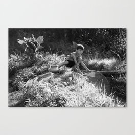 Nepal Village Boy Fishes After Storm Canvas Print