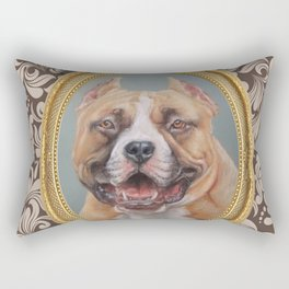 Old Gentleman. Amstaff Dog portrait in gold frame Rectangular Pillow