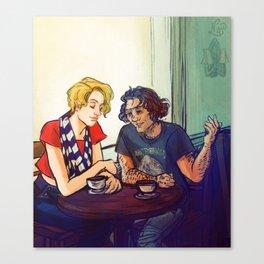 Enjolras and Grantaire Coffeshop AU Canvas Print
