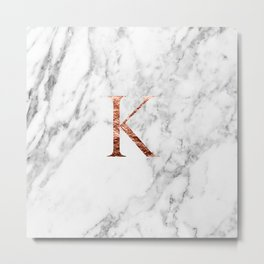 Monogram rose gold marble K Metal Print