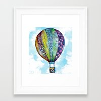 hot air balloon Framed Art Prints featuring Hot Air Balloon by Emily Stalley