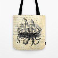 Tote Bags featuring Kraken Octopus Attacking Ship Multi Collage Background by Paper Rescue Designs