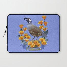 California State Bird Quail and Golden Poppy Laptop Sleeve