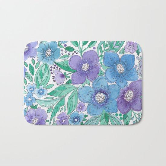 Watercolor . Blue Bouquet. Bath Mat