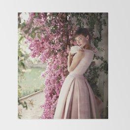 Audrey Hepburn Flowers Throw Blanket