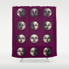 moon phases on dark purple Shower Curtain