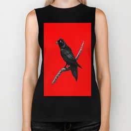 Decorative Chinese Red Black Crow Design Biker Tank