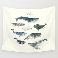 jazzberry blue Wall Tapestries featuring Whales by Amy Hamilton