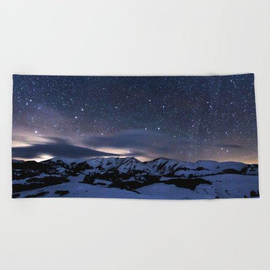 Starry Night Sky Winter Mountain Beach Towel