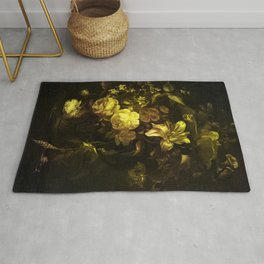 Flowers in a Vase - yellow Rug