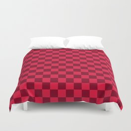 Crimson Red and Burgundy Red Checkerboard Duvet Cover