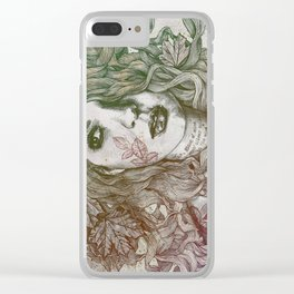 Wake: Autumn (street art woman with maple leaves tattoo) Clear iPhone Case