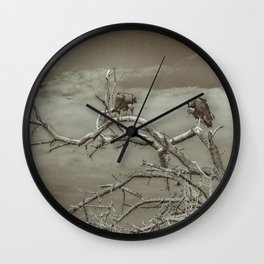 Vultures at Top of Tree Wall Clock