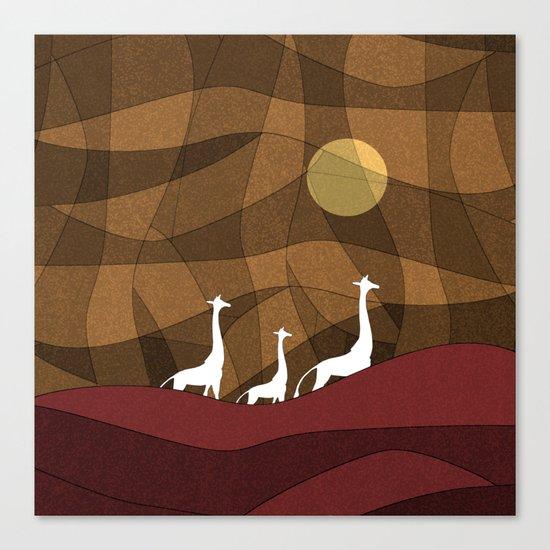 Beautiful warm giraffe family design Canvas Print