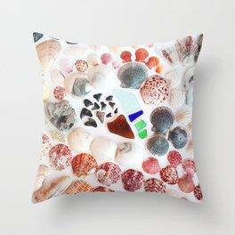 Shark Teeth and Sea Glass Throw Pillow