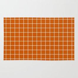 Burnt orange - orange color - White Lines Grid Pattern Rug