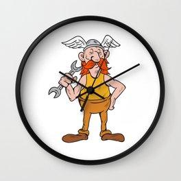 Viking Repairman Standing Spanner Cartoon Wall Clock