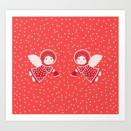 Angels on the red Art Print